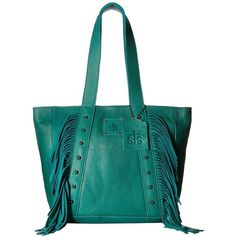 STS Ranchwear The Annie Oakley Tote (Jade) Tote Handbags ($240) ❤ liked on Polyvore featuring bags, handbags, tote bags, fringe handbags, western handbags, studded tote, fringe purse and blue tote