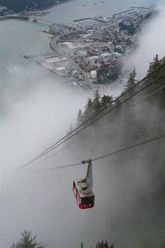 Cable car in Skagway, Alaska, United States.