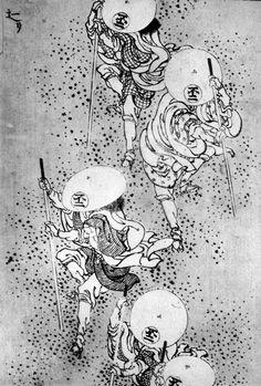 Katsushika Hokusai (Japan, Title: Sliding Down the Mountain Japanese Drawings, Japanese Prints, Manga Art, Anime Manga, Japanese Ornaments, Art Occidental, Jordi Bernet, Japan Painting, Katsushika Hokusai