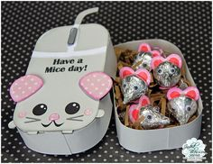 Designs: Jaded Blossom Sneak Day Have a Mice Day! Kinder Valentines, Valentine Treats, Valentine Box, Valentine Day Crafts, Ami Secret, Candy Crafts, Paper Crafts, Craft Gifts, Diy Gifts