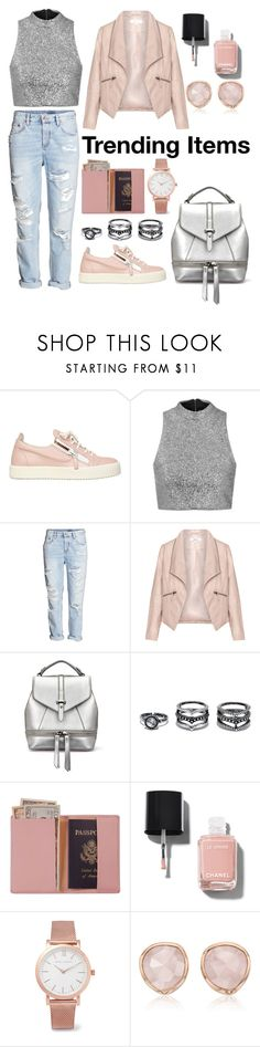 """""""Metallic and Trending"""" by nourabdallah999 ❤ liked on Polyvore featuring Giuseppe Zanotti, Topshop, H&M, Zizzi, LULUS, Royce Leather, Chanel, Larsson & Jennings and Monica Vinader"""