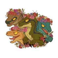Raptor babes~ I'm sure they'll shake off their flower crowns when I'm not looking. Gonna see how they look like on a t shirt. Merch coming soon! Dinosaur Drawing, Dinosaur Art, Cute Dinosaur, Dinosaure Herbivore, Blue Jurassic World, Raptor Dinosaur, Carnivore, Furry Art, Drawing Tips