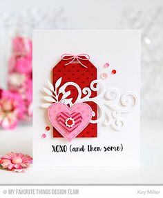 XOXO (and then some) Card by Kay Miller featuring the Love You More stamp set, Mini Hearts Background stamp, and the Leafy Greenery, Stitched Fancy Flourish, Stitched Heart STAX, and Tag Builder Blueprints 5 Die-namics #mftstamps
