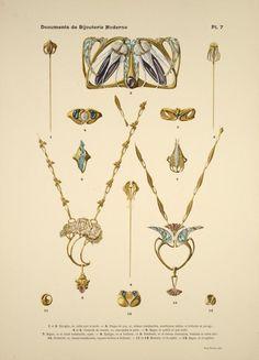 1 et 2. Épingles, or, rubis clair et perle. 3. Plaque de cou, émaux translucides, améthystes taillées et brillants en pavage. [...]