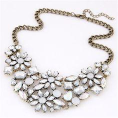 Baloki Statement Choker Bohemia Crystal Gem Flower Pendant Vintage Geometry Rhinestone Maxi Necklaces Women Jewelry Collier A039