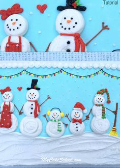 Free Cake Decorating Video by My Cake School! Come along with me for a speedy look at the cake decorating process behind this SWEET snowman themed sheet cake! This was so much fun to do- enjoy! Christmas Cake Designs, Christmas Cake Decorations, Holiday Cakes, Holiday Desserts, Holiday Recipes, Christmas Deserts, Christmas Treats, Christmas Baking, Christmas Cakes