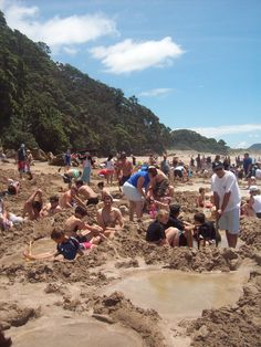 Hot water beach, Coromandel New Zealand. Hot spring water of up to 100 degrees in some areas, great fun at low tide. I <3 my country