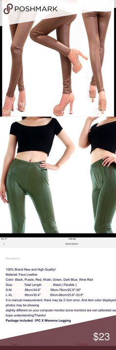 Khaki Stretchy Faux Leather Legging Skinny pants, brand new,high quality, flexible waist Pants Leggings