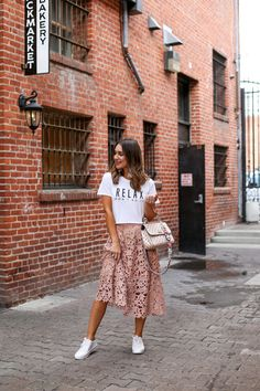 Wearing a Skirt with Sneakers | White Sneakers | Lace Midi Skirt