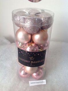 24-ROSE-GOLD-SHINY-MATT-GLITTER-CHRISTMAS-BAUBLES-DECORATIONS-TREE-40MM