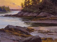 """The Paintings of Donald Demers  """"Last Light, Seal Cove"""" 9 x 12 , oil"""
