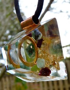 EMERALD Orgone Energy PYRAMID Pendant with Garnet and Gold.  Frequency-Charged EMF Protection. via Etsy