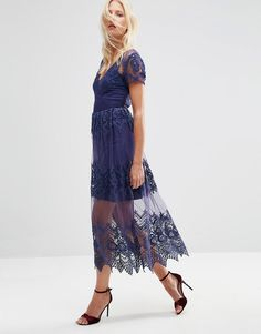 Image 1 of ASOS Embroidered Mesh and Lace Midi Dress