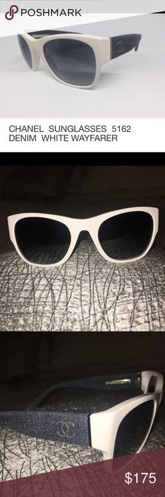 27322e7d89f5 Shop Women s CHANEL White size OS Sunglasses at a discounted price at  Poshmark. Description  Denim and White Chanel Wayfarer Sold by Fast  delivery