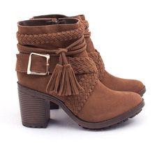 Ana Mello Calçados Femininos - Coturno Marrom de Salto com Tiras Trançadas em X - Botas #botas