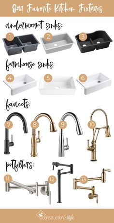 Now that we've talked about our favorite bathroom fixtures when it comes to all things plumbing, it's time to share our favorite kitchen fixtures including sink Black Kitchen Faucets, Kitchen Fixtures, Bathroom Faucets, Kitchen Sinks, Black Kitchens, Cool Kitchens, Colorful Kitchens, Kitchen Colors, Kitchen Design