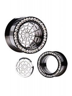 Every Body Jewelry Titanium Anodized Screw Fit Flesh Tunnel Plug with Detachable Spider Web and CZs