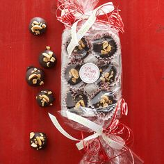 Clear-Wrapped Egg Carton with Peanut Butter Truffles