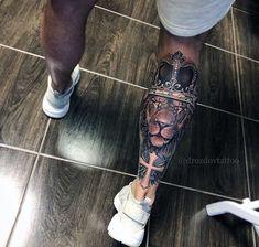 - only best tattoos - Artist . Body Art Tattoos, New Tattoos, Small Tattoos, Sleeve Tattoos, Tattoos For Guys, Tatoos, Lion Leg Tattoo, Calf Tattoo, I Tattoo