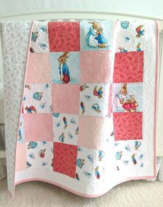 BABY GIRL QUILT WITH PETER RABBIT by Kim's Quilting Studio #KimsQuiltingStudio