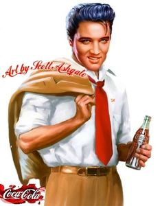 Coca Cola and Elvis ❤ -  Art by Scott Ashgate More #celebrity pics at www.freecomputerdesktopwallpaper.com/wpeopleseven.shtml Thank you for viewing!