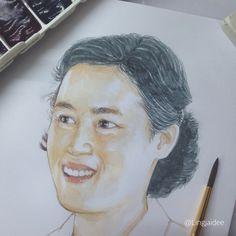 Princess of Thailand   ลองกระดาษสมุดใหม่ สเก็ตช์รูปสมเด็จพระเทพฯ เจิมไว้เป็นแผ่นแรกเลย ;) #sketch #watercolor