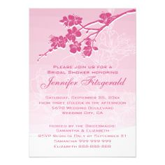 Watercolor Ombre Pink Spring Blossom Bridal Shower Custom Invitations