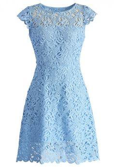 Blue Jasmine Lace Crochet Dress