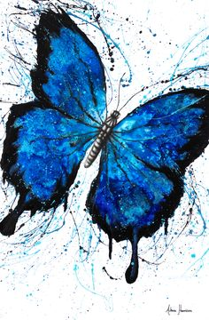 Beach Butterfly Art Print by Ashvin Harrison Butterfly Canvas, Butterfly Drawing, Butterfly Painting, Blue Painting, Painting Art, Butterfly Artwork, Abstract Canvas Art, Canvas Wall Art, Canvas Paintings