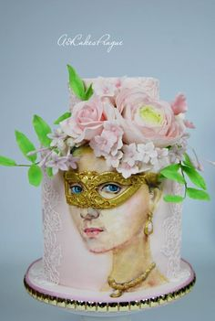 Beautiful stranger hand-painted cake by Art Cakes Prague by Victoria Mkhitaryan Beautiful Cakes, Amazing Cakes, Masquerade Cakes, Silhouette Cake, Hand Painted Cakes, Edible Creations, Couture Cakes, Sculpted Cakes, Marble Cake