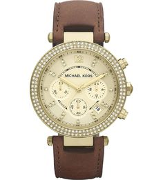 MICHAEL KORS - MK2249 Parker gold-plated and leather chronograph watch | Selfridges.com