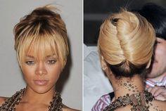 Rihanna's French Twist With Flirty Fringe