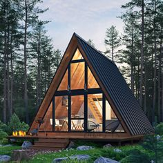 Forest house on Behance Tiny House Cabin, Cabin Homes, Cozy House, Tiny Cabins, Cabin Design, Tiny House Design, Cabins In The Woods, House In The Woods, A Frame Cabin Plans