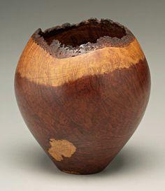 "Rudy Osolnik vase,redwood burl with natural bark borders, marked on base ""Redwood Lace Burl Rudy Osolnik '93"" (Berea, Kentucky, 1915-2001), 7-3/4 in."