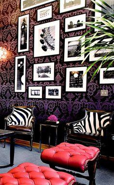 Love the pink and zebra, not the purple walls and blue floor.