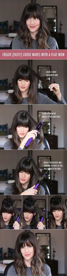 Year, New (Even Easier) Waves How to create waves with a flat iron. (Wavy Hair Tutorial)How to create waves with a flat iron. Curl Hair With Straightener, Trendy Hairstyles, Fringe Hairstyles, Wedding Hairstyles, Updo Hairstyle, Amazing Hairstyles, Wedding Updo, Hair Hacks, Hair Goals