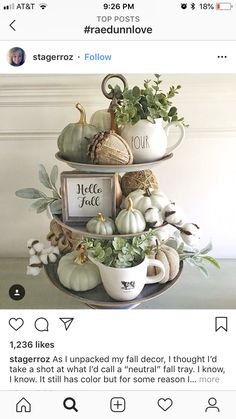 Easy fall centerpiece using wood pizza board; fresh seeded eucalyptus, and white pumpkins Decoration Buffet, Tray Decor, Thanksgiving Decorations, Seasonal Decor, Holiday Decor, Fall Decorations, Fall Home Decor, Autumn Home, Blue Fall Decor