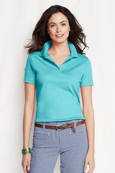 Women's Short Sleeve Pima Polo Shirt from Lands' End