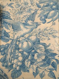 Antique Vtg. French Blue Bird Fruit Floral Cotton Toile Fabric #2