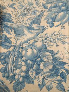 Antique Vtg. French Blue Bird Fruit Floral Cotton Toile Fabric  #2