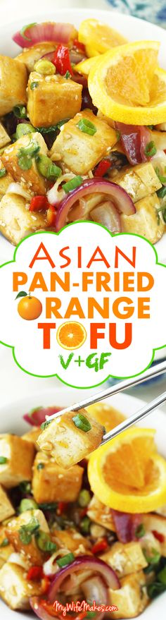 Asian Pan-Fried Orange Tofu recipe made with tofu, orange juice & zest, onions, sesame seeds, and more. A simple, healthy & delicious vegan lunch / dinner. --------> http://tipsalud.com