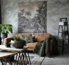 10 Beautiful Rooms – Mad About The House: brown leather sofa and plants in the h… - Decoration, Room Decoration, Decoration Appartement, Home Decor, Bedroom Decor Room Color Schemes, Room Colors, Colours, Paint Colors, Interior Design Living Room, Living Room Designs, Tan Sofa Living Room Ideas, Living Rooms, Tiny Living