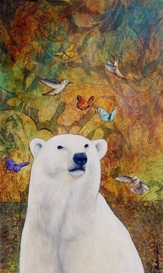 Polar Bear Art Print Polar Bear Dream 11 x 14 by ArtWithIntention