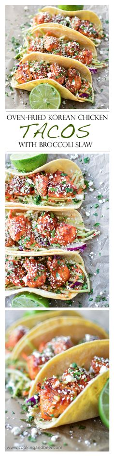 Oven fried Korean chicken tacos are a healthier dinner option that includes crispy, spicy chicken and cool broccoli slaw! Asian Recipes, Mexican Food Recipes, Healthy Recipes, I Love Food, Good Food, Yummy Food, Enchiladas, Comida Kosher, Korean Chicken