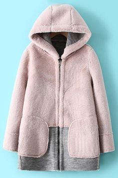 Contrast Color Hooded Long Sleeve Winter Coat