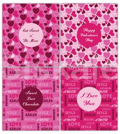 PINK Candy Bar WRAPPERS Printable  Valentine's Day by Siskale