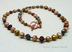 Karen's Artistic Touches Store - Copper and Colorful Freshwater Pearl Potato Beaded Necklace, $37.99 (http://www.karensartistictouches.com/copper-and-colorful-freshwater-pearl-potato-beaded-necklace/)