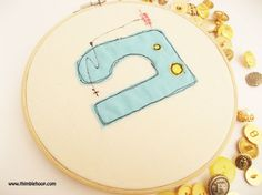 Sewing machine embroidery hoop art for wall decor by ThimbleHoop