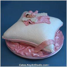 Baby Girl on Cross Pillow Baptism Cake-1
