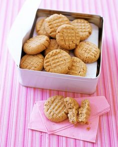 Peanut Butter Cookies by Martha Stewart.    1 1/2 cups crunchy peanut butter.   1 cup packed light-brown sugar.   1/2 cup unsalted butter.   1 large egg.   1 1/2 cups all-purpose flour.   1 tsp baking powder.